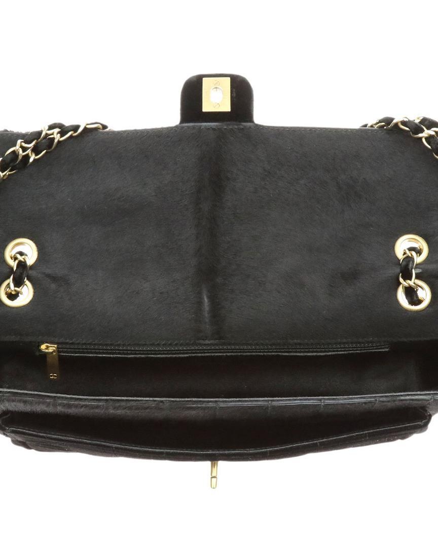 ebfd0f56ed59 Chanel Vintage Black Velour & Calf Hair East West Flap Bag in Black ...