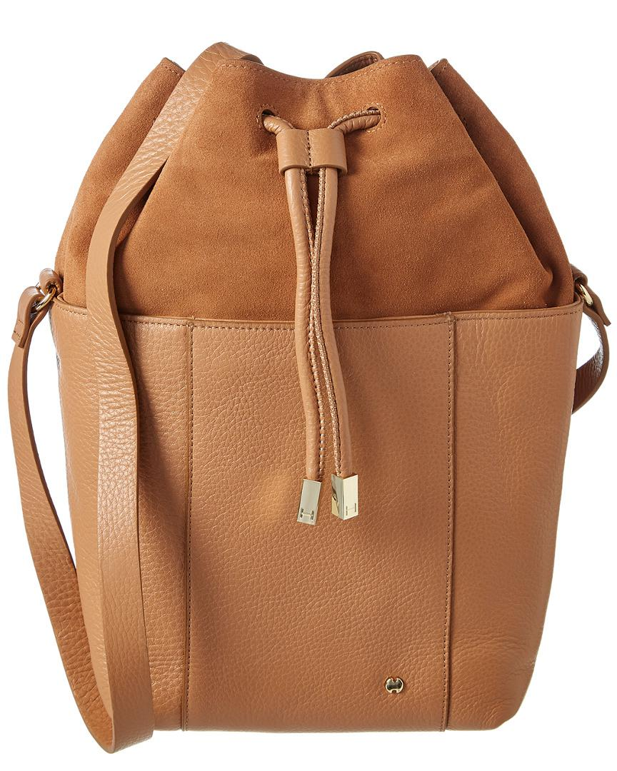 7ac5c9cef319 Lyst - Halston Heritage Drawstring Leather Bucket Bag in Brown
