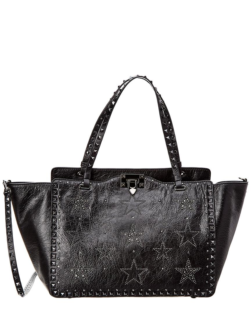 91e6e6d6ee9 Lyst - Valentino Rockstud Large Leather Tote in Black