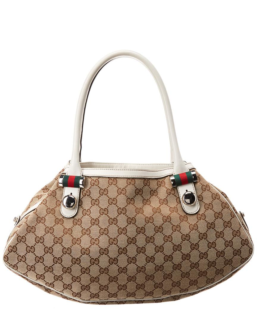 69b0fc182959 Lyst - Gucci Brown GG Canvas & White Leather Abbey Tote in Brown ...