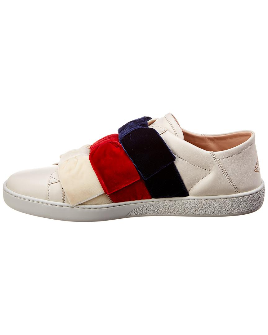 8e58df22f0d Gucci Ace Velvet Bow   Leather Sneaker in White - Save 14% - Lyst