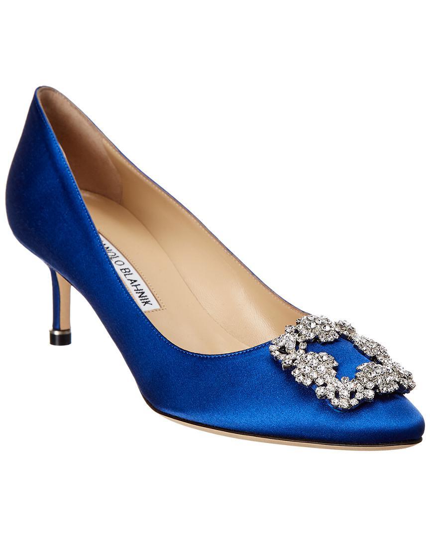 lyst manolo blahnik hangisi 70 royal blue satin pump in white rh lyst com