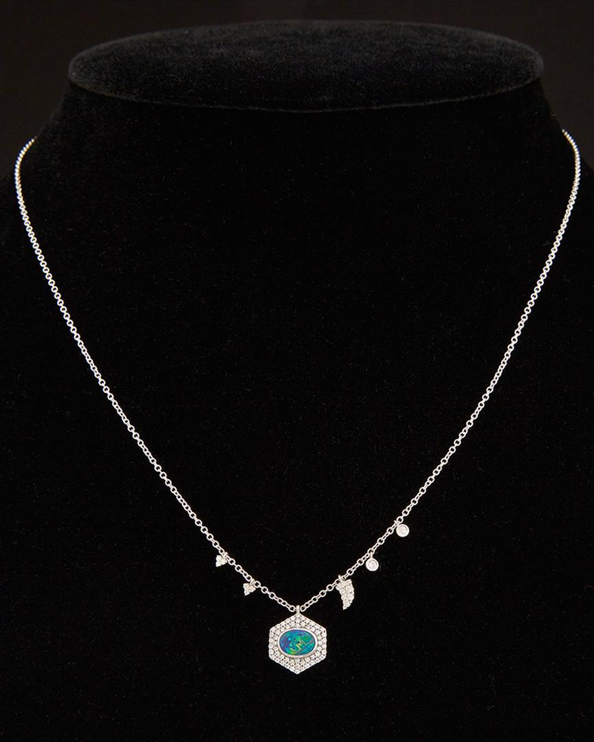 Meira T Dnu 14k 0.54 Ct. Tw. Diamond & Opal Necklace in Black