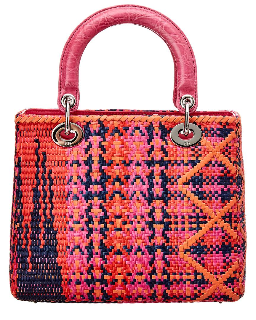8cf0b8b836f9 Lyst - Dior Limited Edition Pink Woven Small Lady Dior in Pink