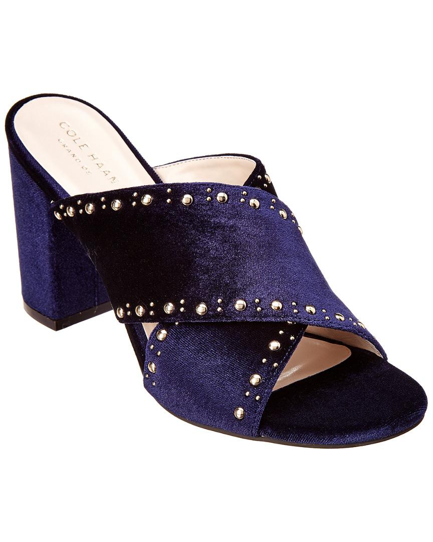 0a4a0a930e3 Lyst - Cole Haan Gabby Studded Velvet Sandal in Blue