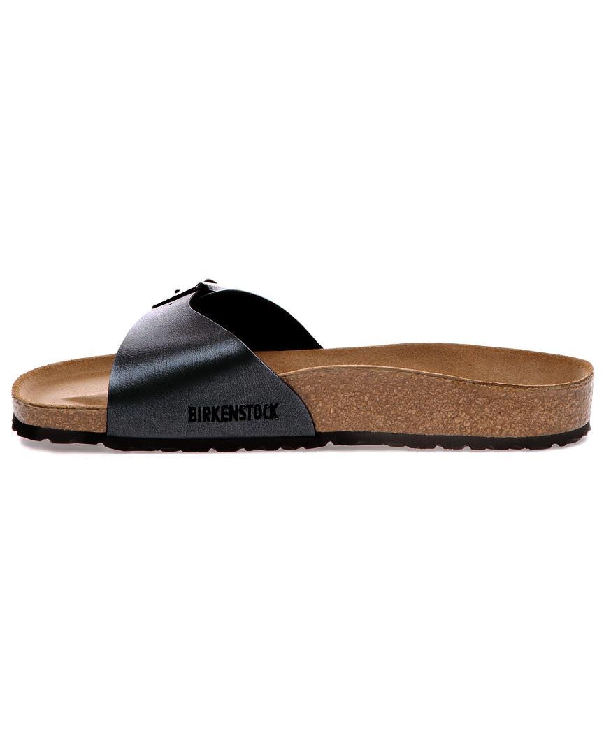 11ebb42a09304e Lyst - Birkenstock Madrid Birko-flor Leather Narrow Sandal in Black - Save  15%