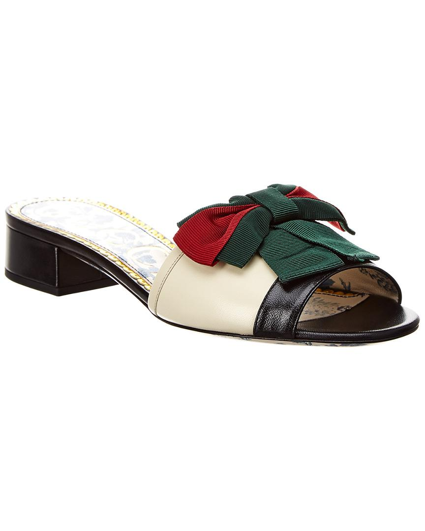 c0609dead82 Lyst - Gucci Web Bow Leather Slide Sandal in White