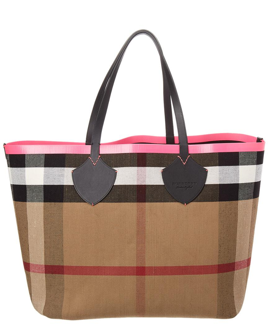 Burberry. Women s Giant Reversible Canvas Check   Leather Tote 7febfd3baf879