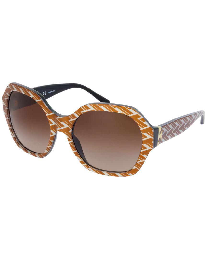 63fb4f80fa21 Lyst - Tory Burch Ty7120 57mm Sunglasses in Brown
