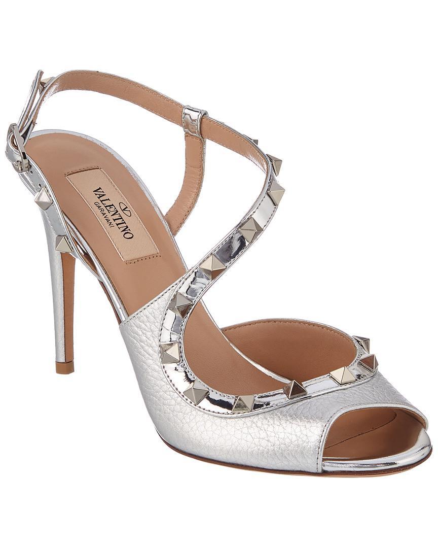 ef0bb0f21a5f Lyst - Valentino Rockstud 100 Leather Sandal in Metallic