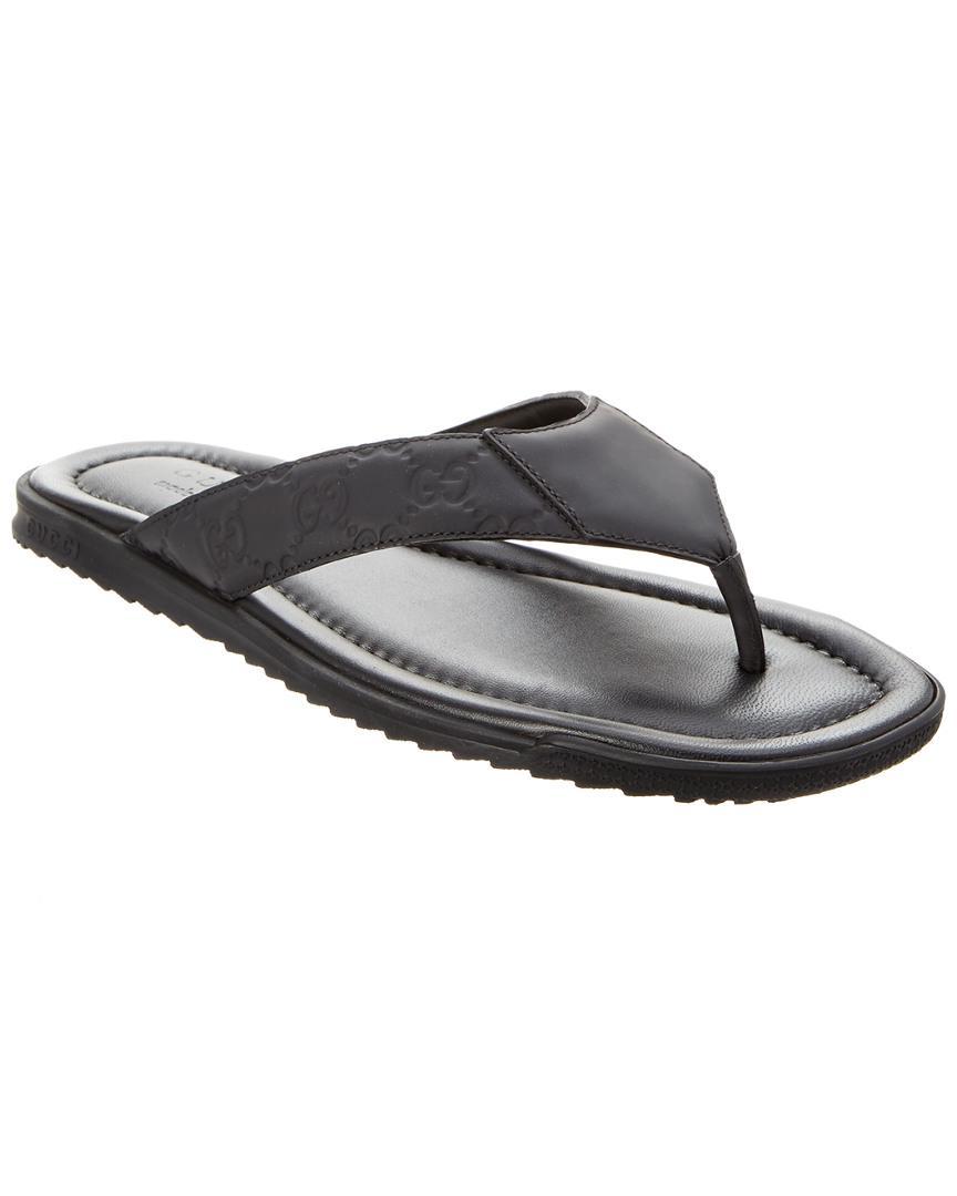 79032de24 Lyst - Gucci Ssima Leather Flip Flop in Black for Men