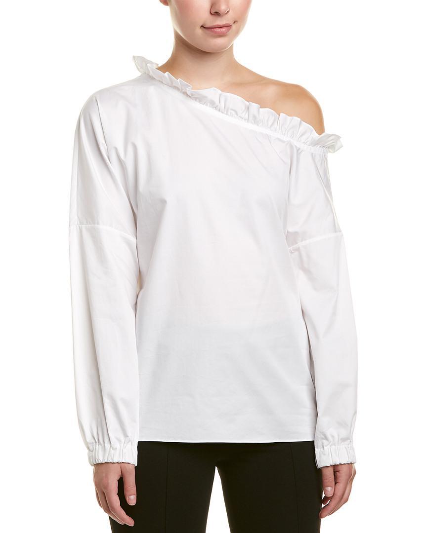 7e55e04348c Lyst - Tibi One-shoulder Top in White - Save 32.773109243697476%