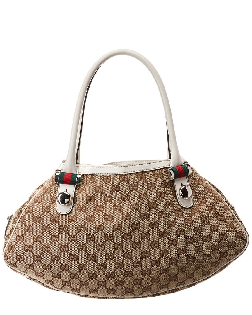 9e548af7b9895b Lyst - Gucci Brown GG Canvas & White Leather Abbey Tote in Brown - Save 7%