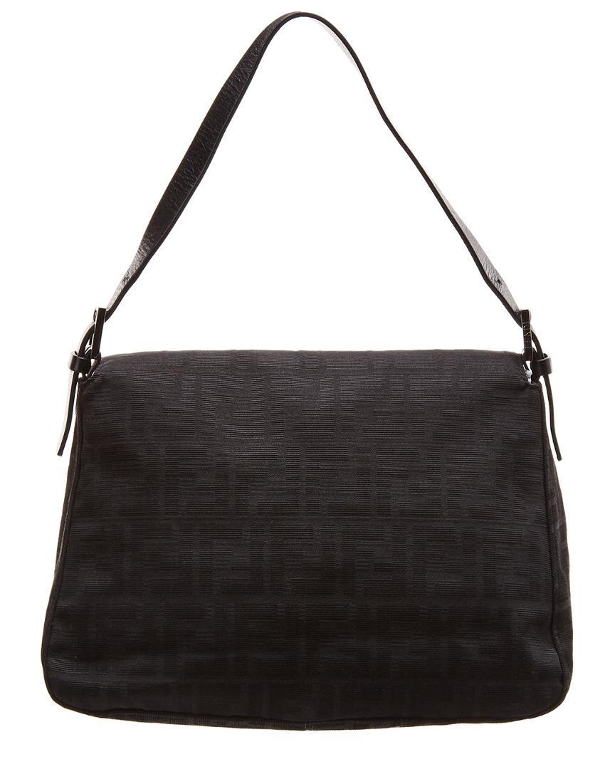 c2f390a81858 Lyst - Fendi Black Zucca Canvas Mamma Bag in Black