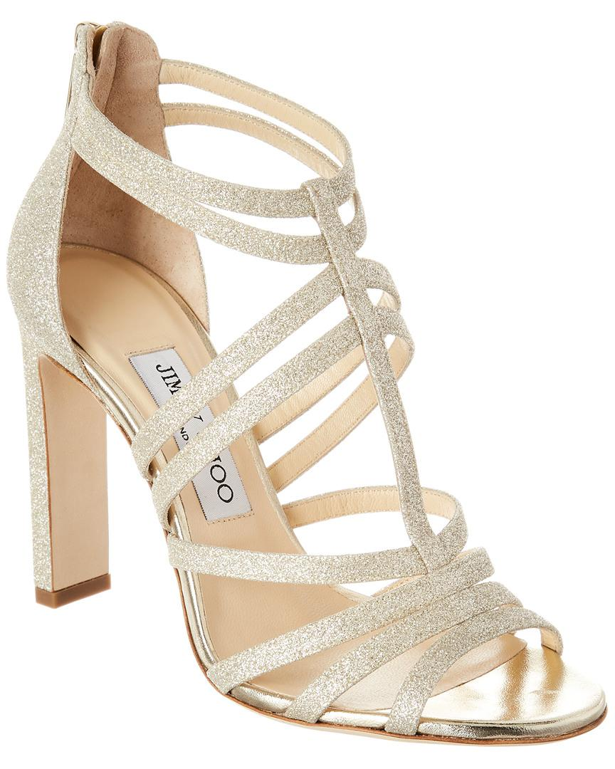 7c0925e60f7 Lyst - Jimmy Choo Selina 100 Glitter Sandal in Metallic