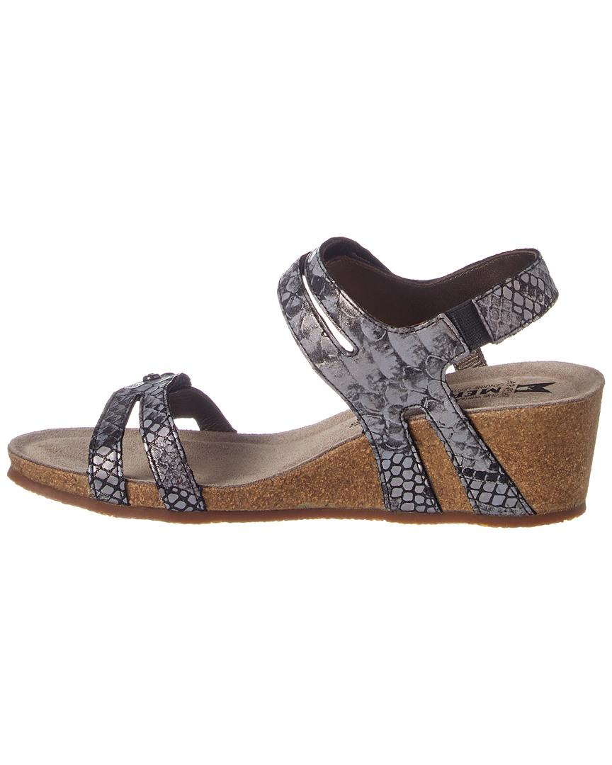 e6885c1f478 Lyst - Mephisto Minoa Snake-embossed Leather Wedge Sandal in Gray