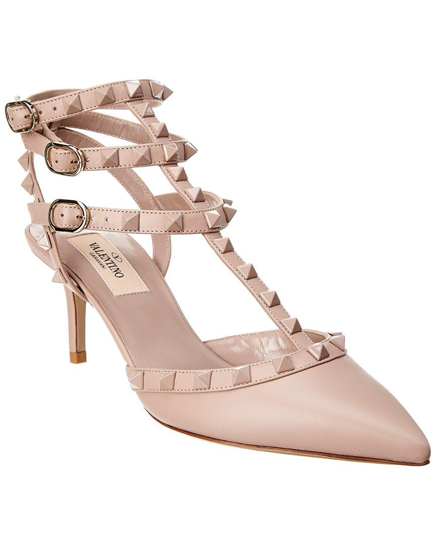 2769c73ed6c Valentino. Women s Pink Cage Lacquer Rockstud 65 Leather Ankle Strap Pump