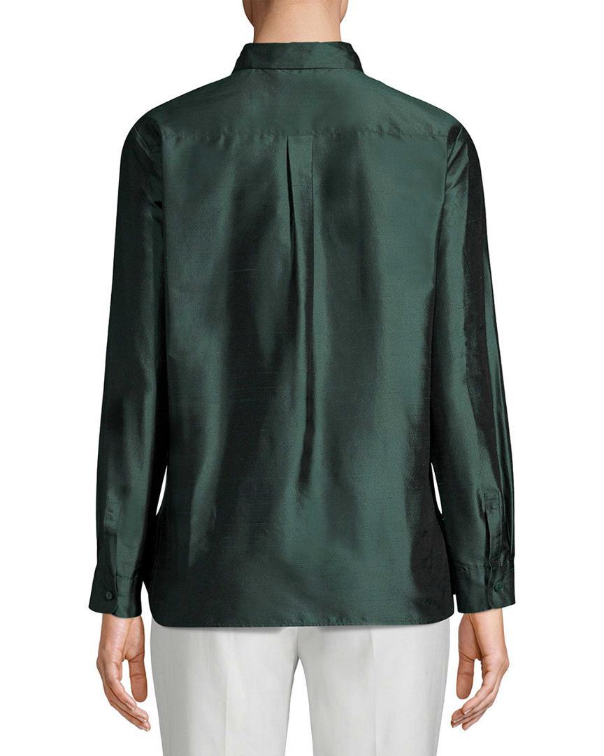 3f07b807b933e5 Max Mara Silk Blouse in Green - Save 49% - Lyst