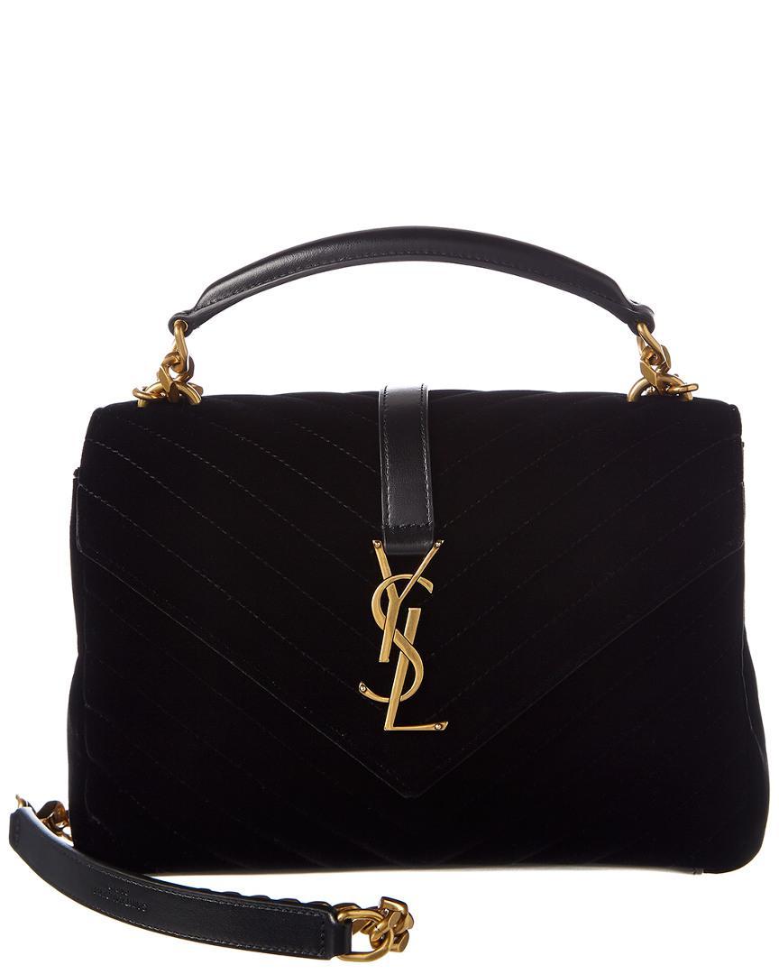 5ced04d26eb Saint Laurent Medium College Velvet & Leather Shoulder Bag in Black ...