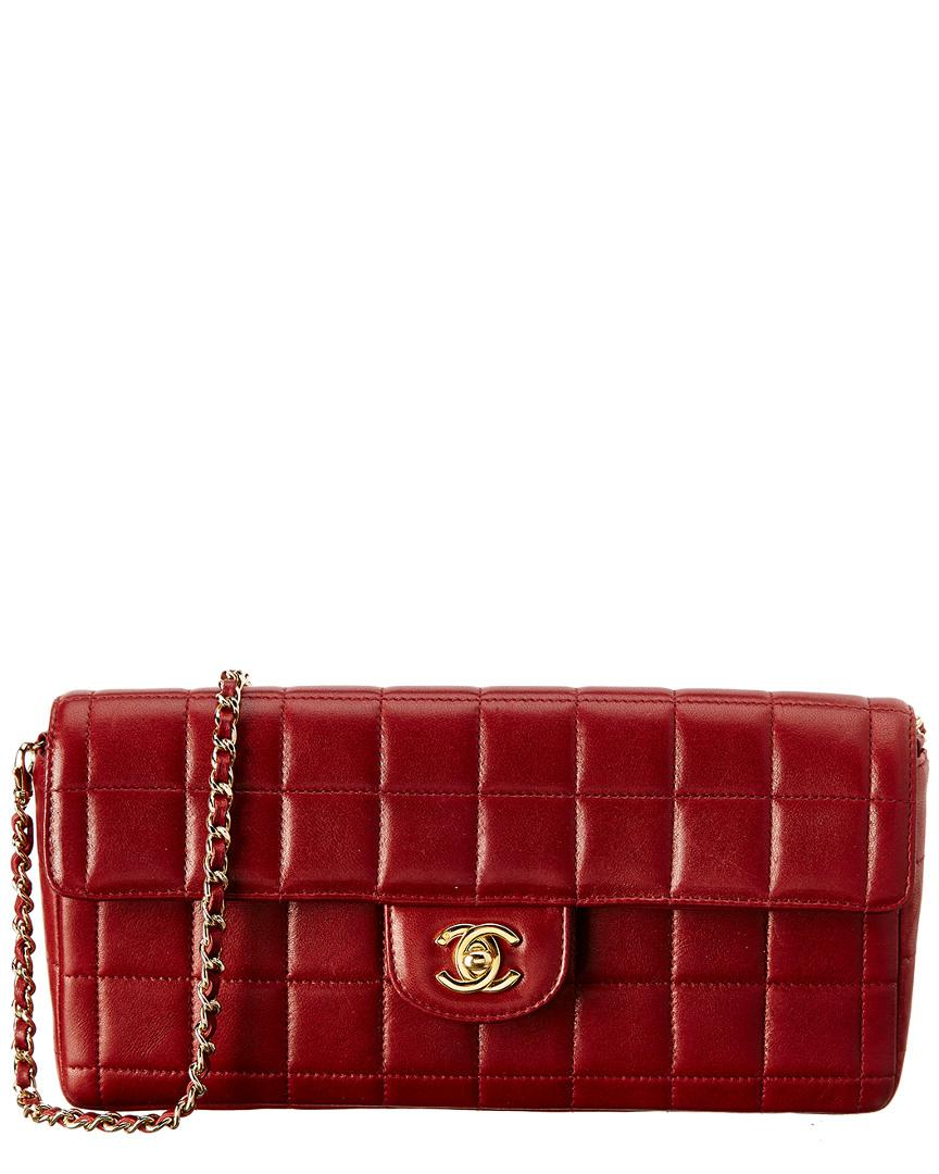 bd6dc4a2b95c Chanel Burgundy Chocolate Bar Quilted Lambskin Leather East West ...