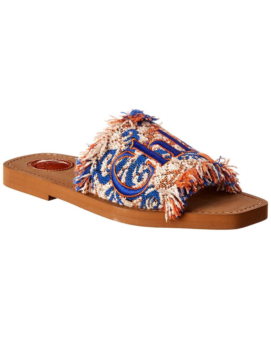 da3de8190f58 Chloé Blue Woody Logo Embroidered Tapestry Cotton Blend Slides in ...
