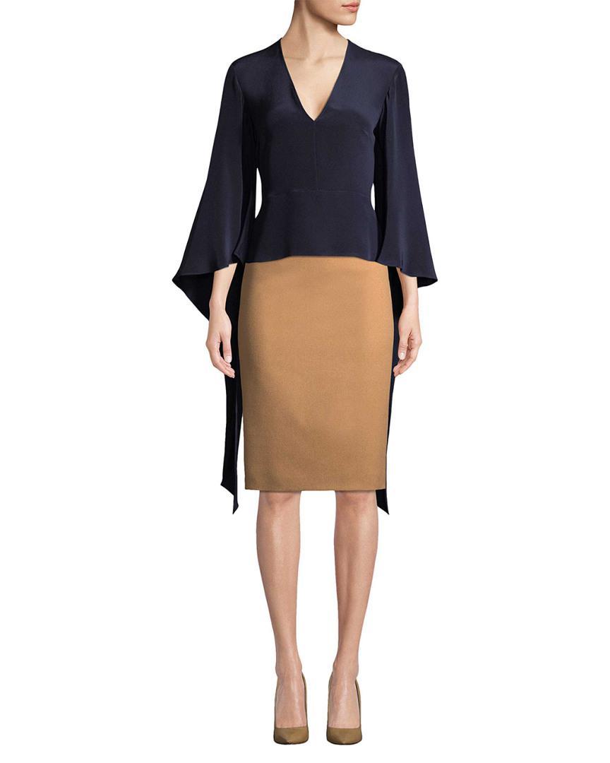 16d2e579a25e23 10 Crosby Derek Lam. Women s Blue Derek Lam V-neck Silk Blouse With Tie  Sleeves