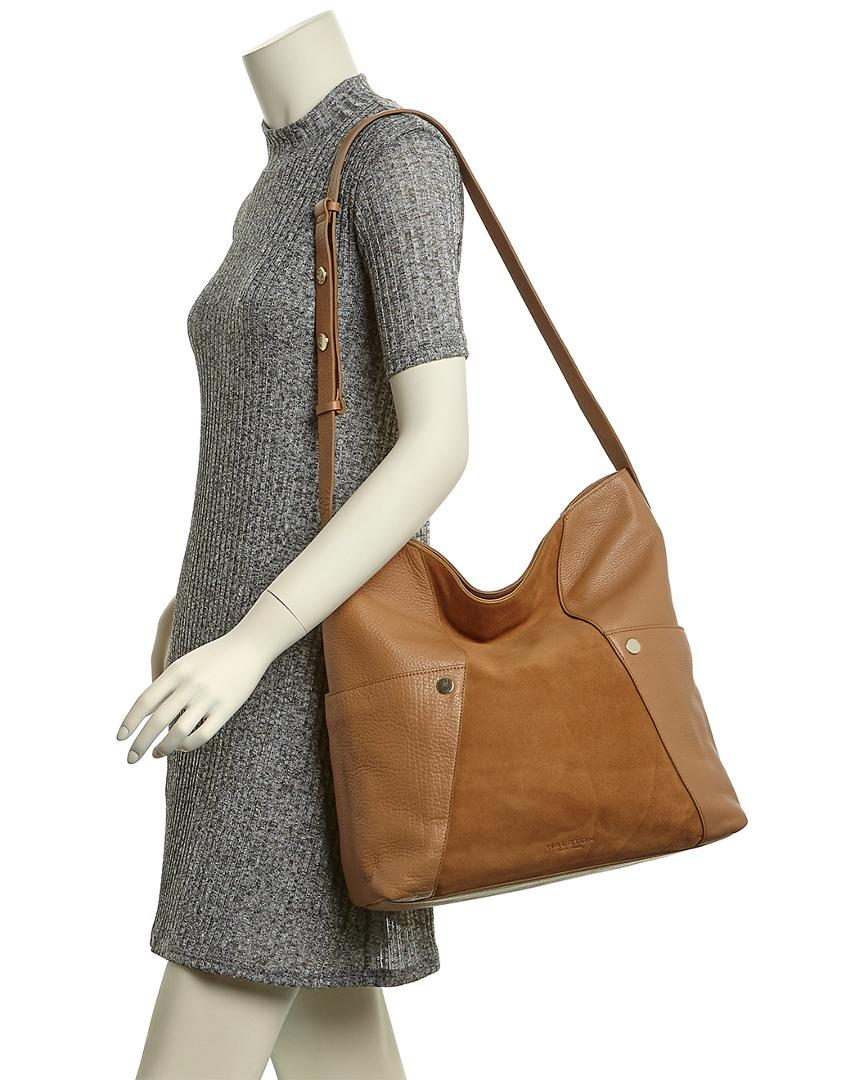 dc9378d41142 Lyst - Halston Large Leather   Suede Hobo in Brown