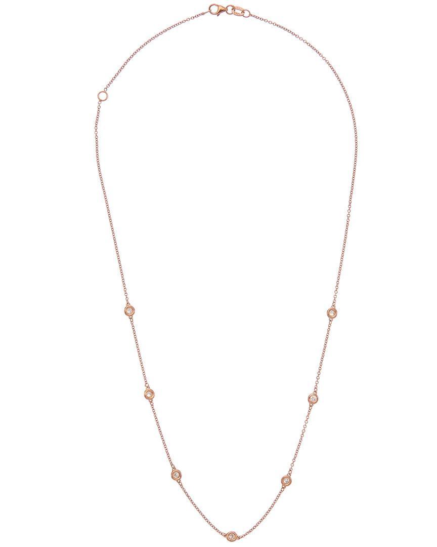 Diana M. Jewels . Fine Jewelry 14k Rose Gold 0.50 Ct. Tw. Diamond Necklace in Metallic