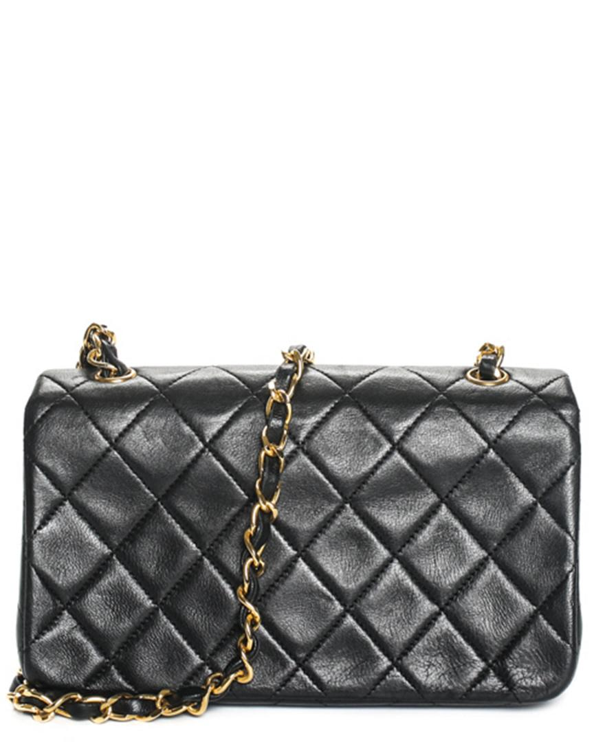 56c0aea1d68d Lyst - Chanel Black Quilted Lambskin Leather Mini Flap Bag in Black