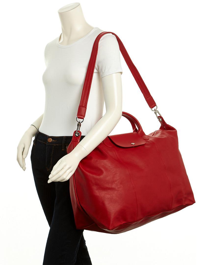 Le Pliage Cuir Large Leather Travel Bag