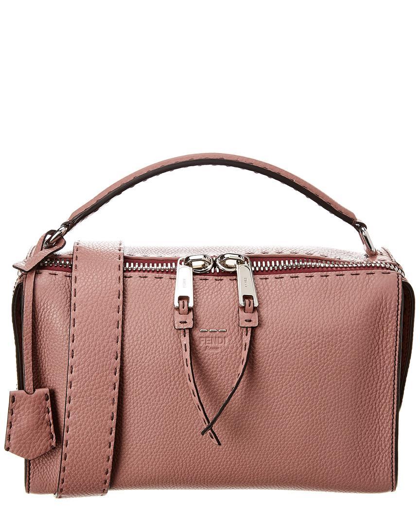 c591b92577d3 Fendi Lei Selleria Leather Boston Bag in Pink - Lyst