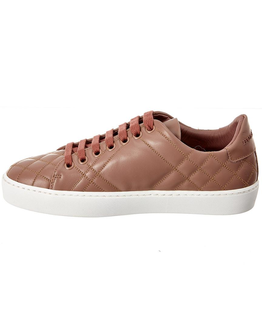 Burberry Check Quilted Leather Sneaker in Pink for Men