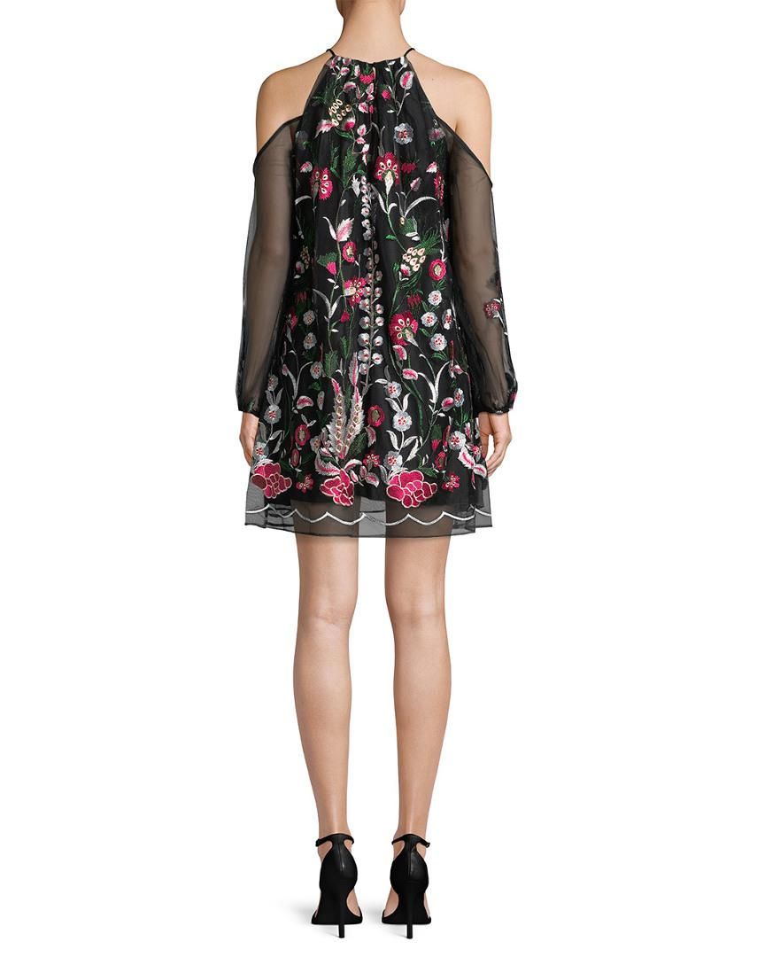 bfab697246a Belle By Badgley Mischka. Women s Black Cold-shoulder Embroidery Dress