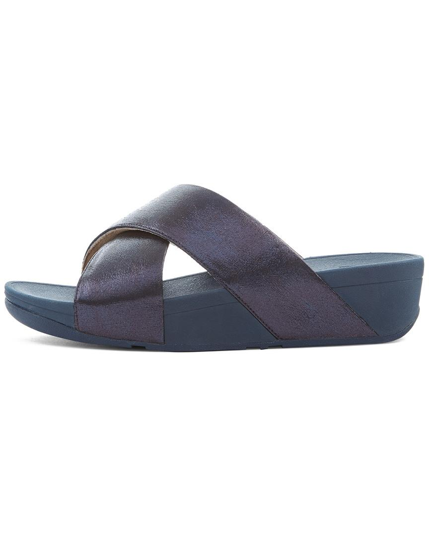 cd766c44060f Lyst - Fitflop Lulu Cross Glitz Slide in Blue