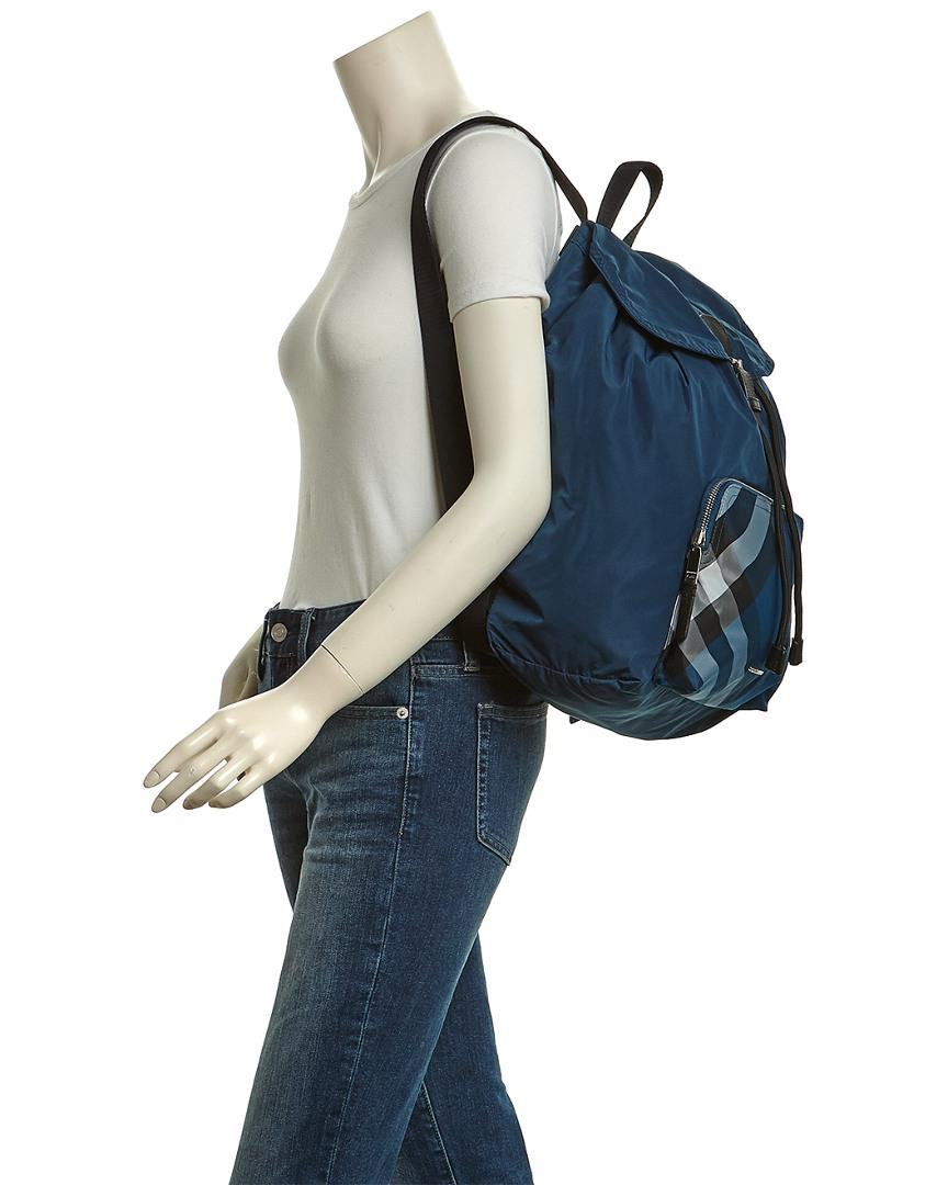 Burberry Packable Check Backpack in Dark Teal Green (Blue)