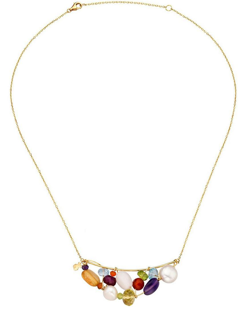 Tous Garabato 18k Gemstone Necklace in Metallic