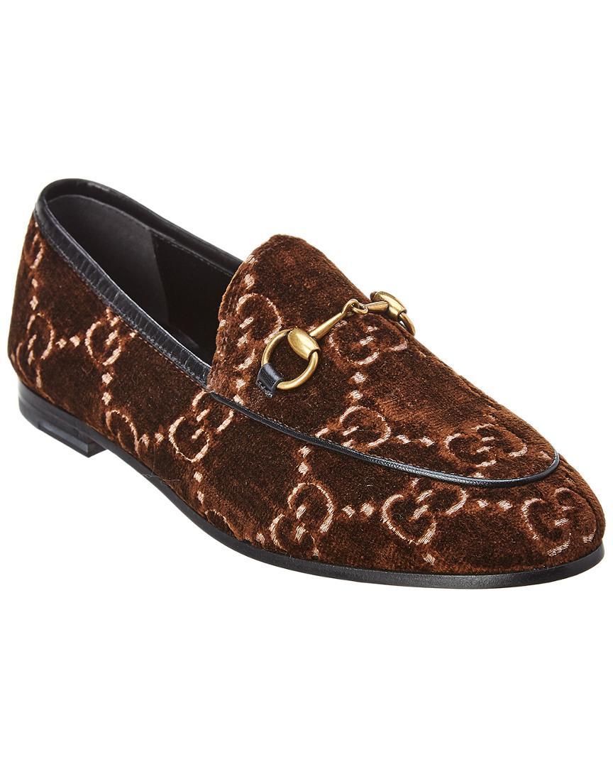 09d5bc175ef Lyst - Gucci Jordaan GG Velvet Loafer in Brown - Save 38%