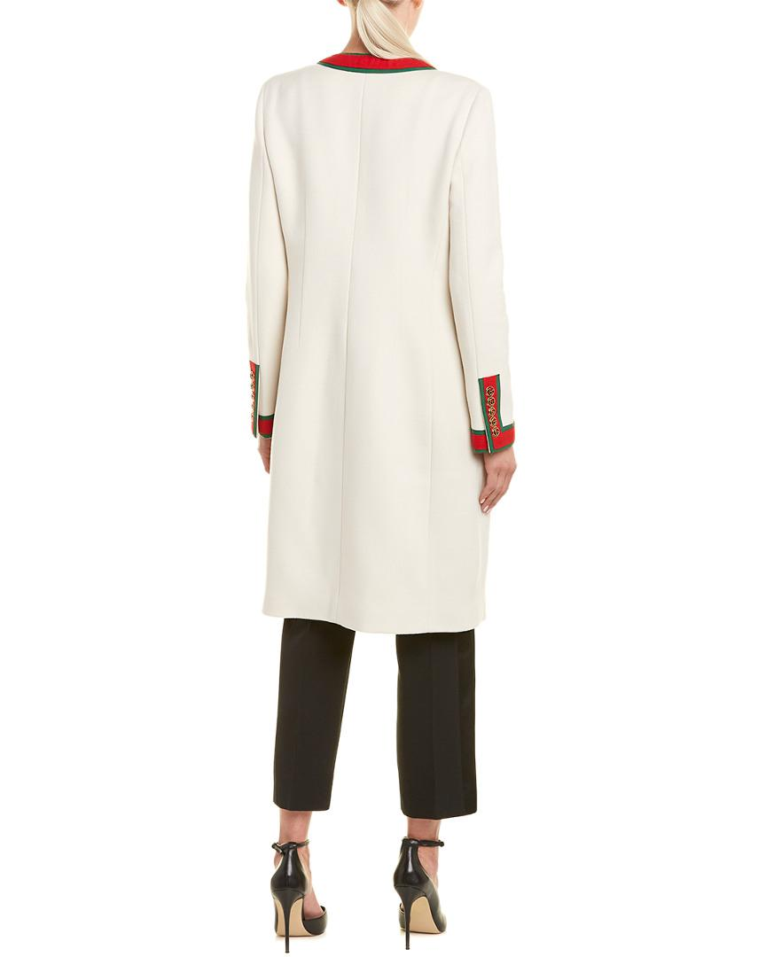 74ec7be7c Lyst - Gucci Wool Coat in White - Save 0.03174603174603874%