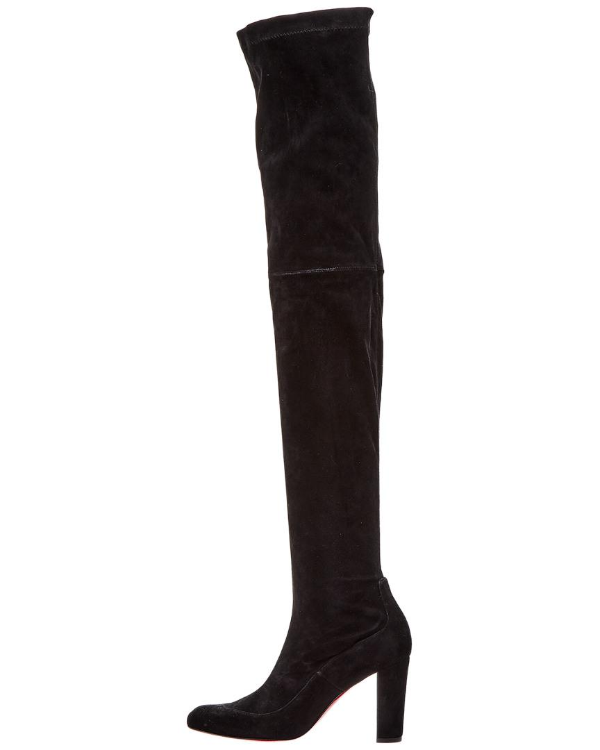 519c4a9f267 Lyst - Christian Louboutin Kiss Me Gena 85 Suede Over-the-knee Boot in Black
