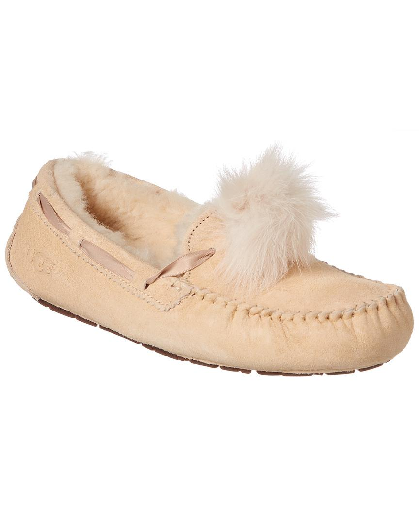 888389e4f2c Ugg Natural Dakota Leather Pom Pom Slipper
