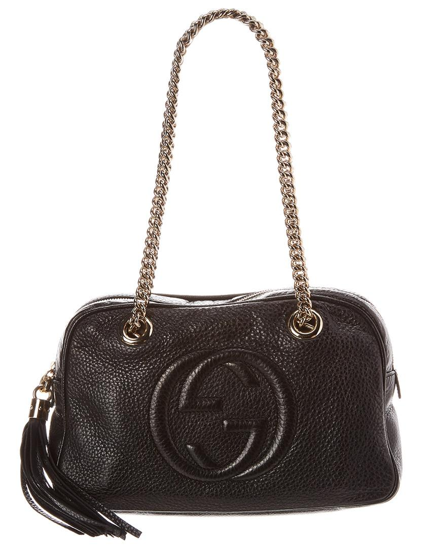 a5b1d7ad105a Lyst - Gucci Black Pebbled Leather Soho Chain Shoulder Bag in Black