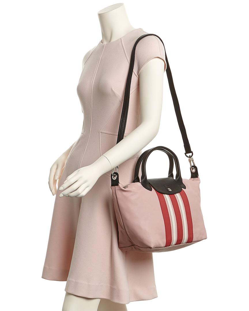 Le Pliage Cuir Raye Small Leather Top Handle Tote
