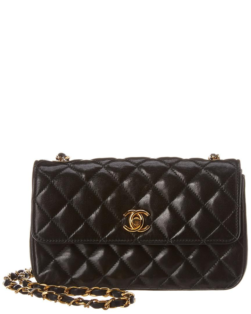 1808c5f2daff Chanel Black Quilted Lambskin Leather Small Half Flap Bag in Black ...