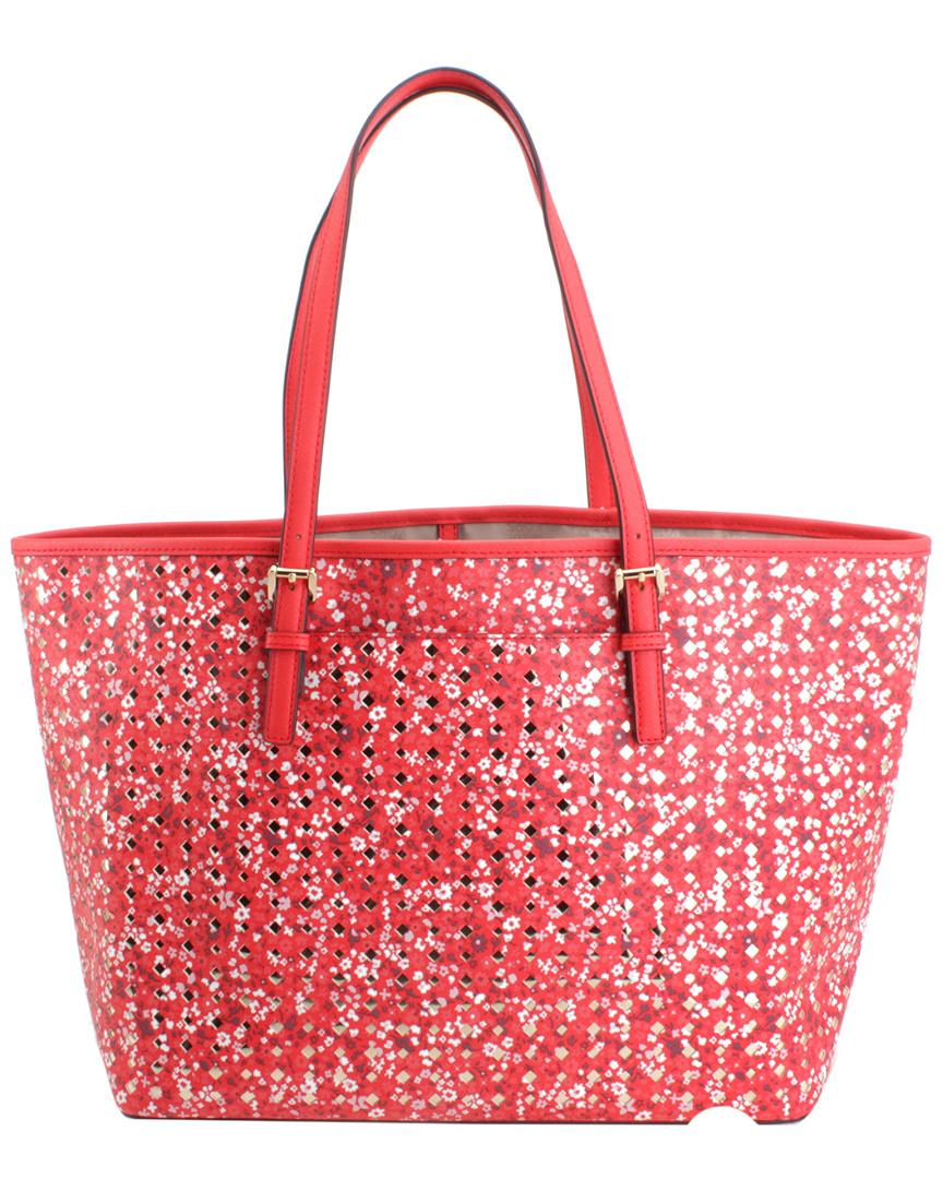 53d31462f135 Lyst - Michael Kors Jet Set Travel Large Leather Carioto in Red