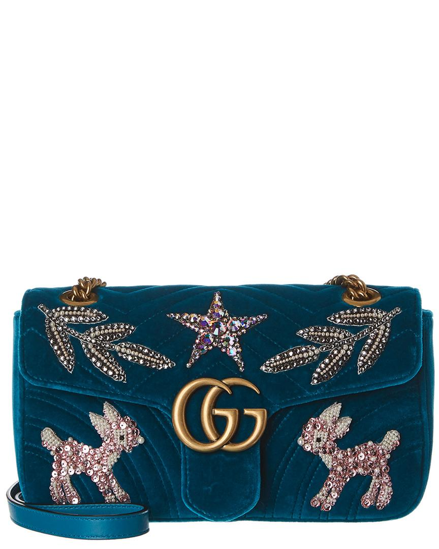 0fd0d0a21298 Gucci GG Marmont Velvet Sm Shoulder Bag in Blue - Save 21% - Lyst