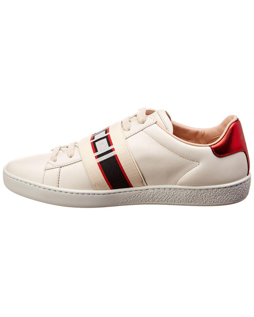 6279913a724 Lyst - Gucci New Ace Stripe Leather Sneaker in White