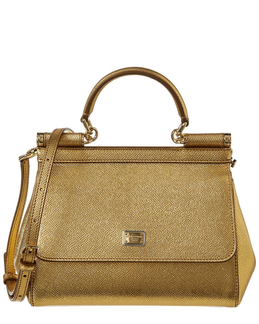 d9ea0d43aa Dolce   Gabbana Small Sicily Leather Satchel in Metallic - Save 11 ...