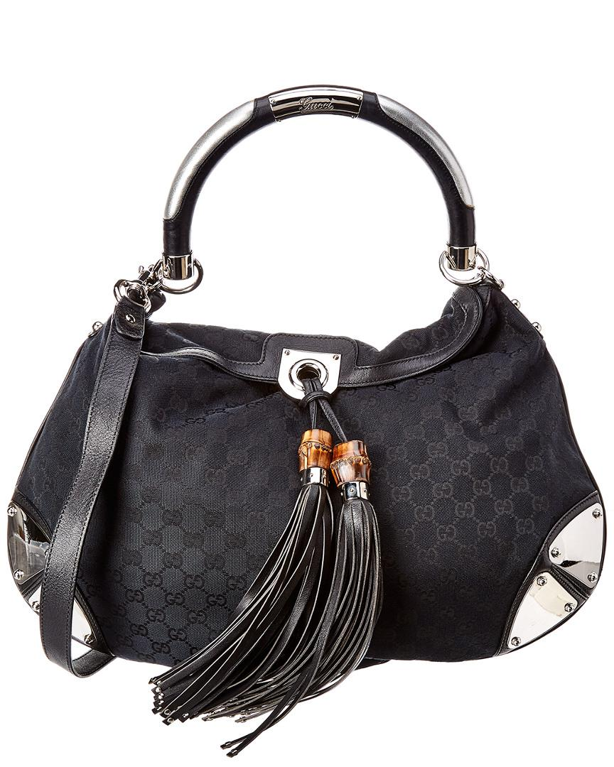 d6d6f5ac374b Gucci GG Canvas   Leather Indy Hobo Bag in Black - Lyst