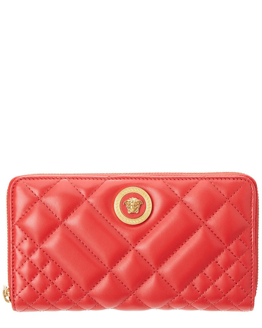 24a2d5d98b Lyst - Versace Medusa Tribute Quilted Leather Zip Around Wallet in Red