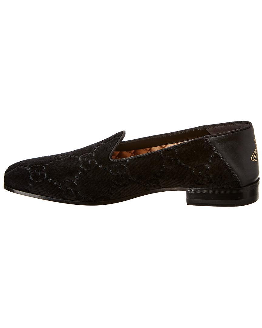 df96f728b Gucci Velvet & Leather Loafer in Black for Men - Lyst